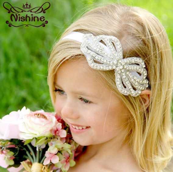 Nishine New Kids Rhinestone Flower Headband Girls Crystal Bow Party Hair  Band Wedding Jewelry Hair Accessories 86b4cdaa2b20