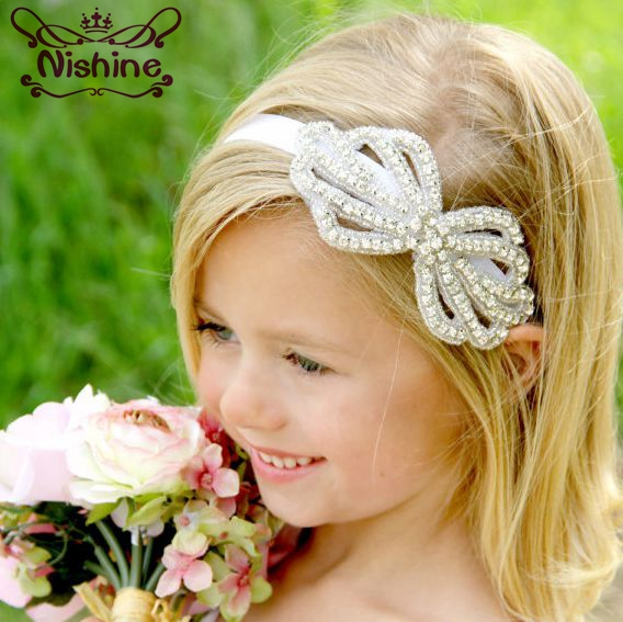 Nishine New Kids Rhinestone Flower Headband Girls Crystal Bow Party Hair Band Wedding Jewelry Hair Accessories Photography Props metting joura women girls bohemian punk vintage braided silver metal seed beads knitted flower headband hair accessories