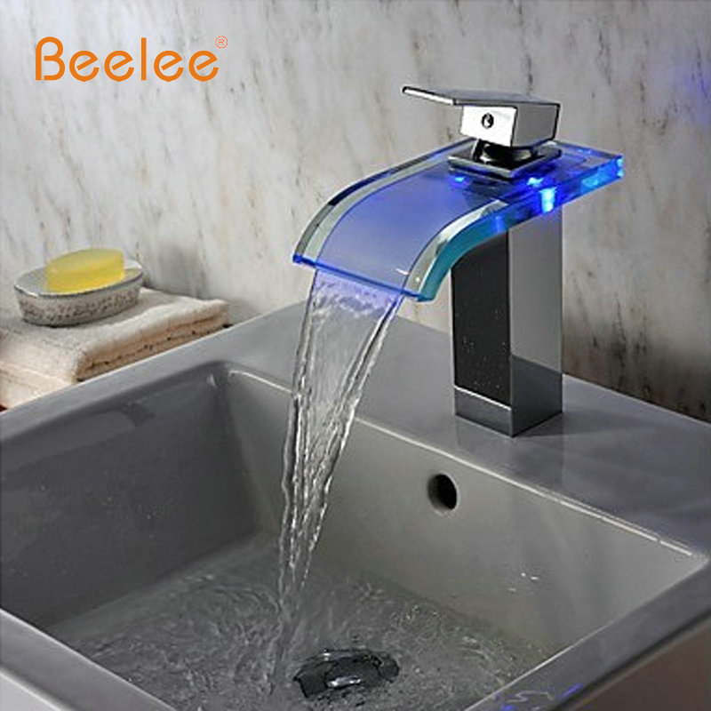 Contemporary Chrome Basin Faucets Deck Mounted Water Power LED Basin Tap Mixer Temperature Sensor 3 Color LED Bathroom Faucet 3 color changeable temperature sensor led faucet rgb color led faucets kitchen bathroom temperature controlled led water tap