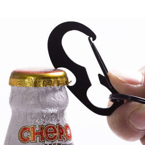 Multi Functional Black D-ring Beer Bottle Opener Key Chain
