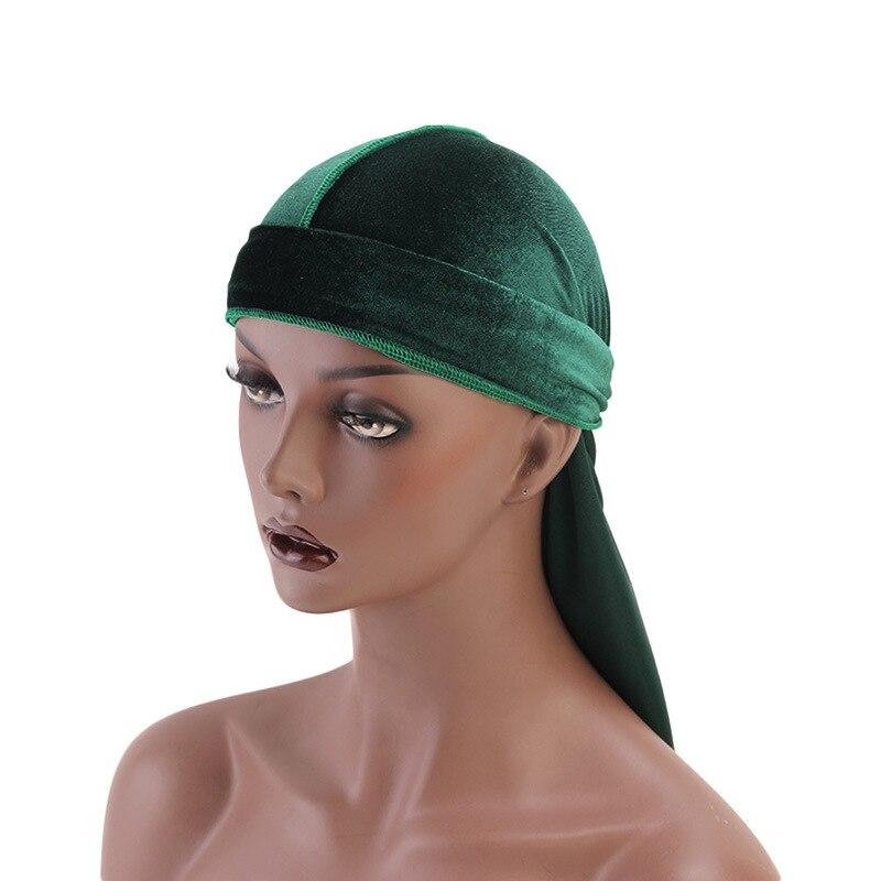 Men's Accessories Unisex Durag Long Tail Mens Durags Wig Bandannas Hat Velvet Bandeau Cheveux Elastic Headwrap Haarbanden Voor Vrouwen Headgear