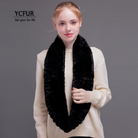 YCFUR Women's Ring Scarves Winter Warm Knit Real Rex Rabbit Fur Scarf Wrap Female Super Elastic Natural Fur Long Scarf For Women