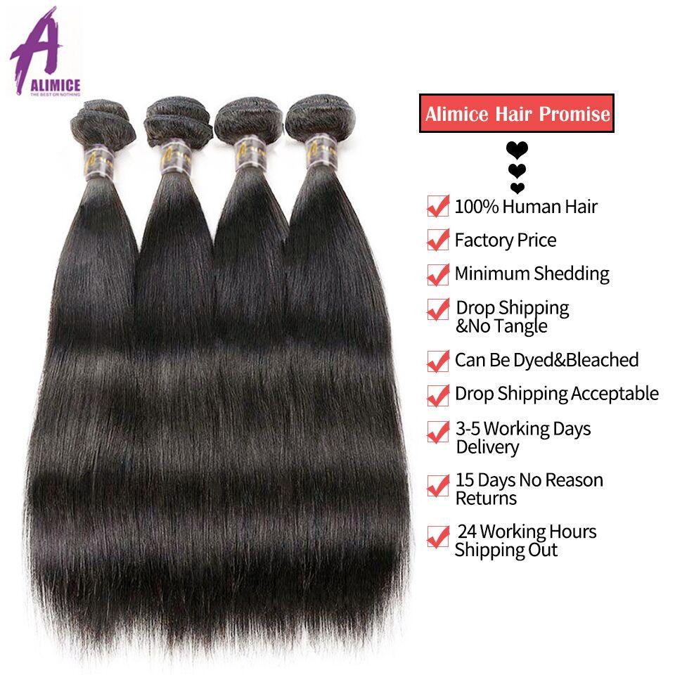 Alimice Hair Brazīlijas taisnas Remy matu aušanas komplekti 100% - Cilvēka mati (melnā krāsā) - Foto 4