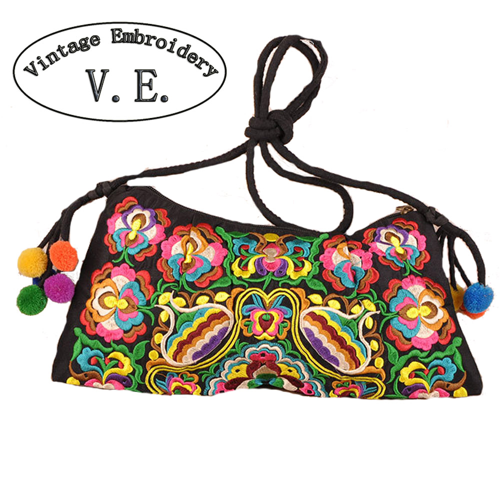 Thailand Cloth Embroidered Bag Double-sided Flower Ethnic Embroidery Shoulder Messenger Bag Women Small Clutch Handbag ethnic embroidered black cami dress for women