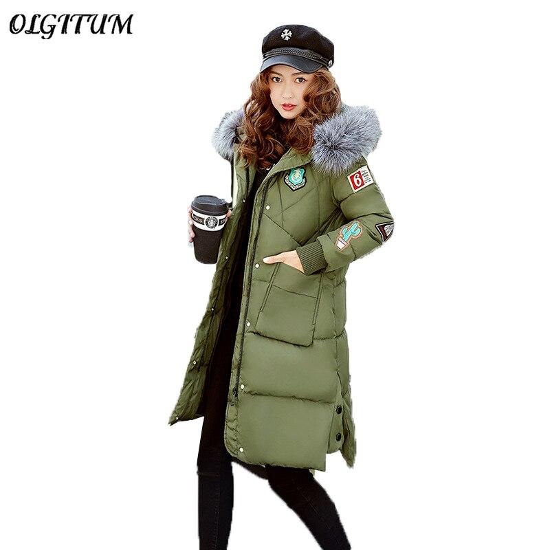 Manteau Coton D'hiver Bras Green Avec army Couleur Femme Section Long Épais Capuche Solide Col red Et Black Vêtements Veste Impression Nouveau À 2019 rrqSf