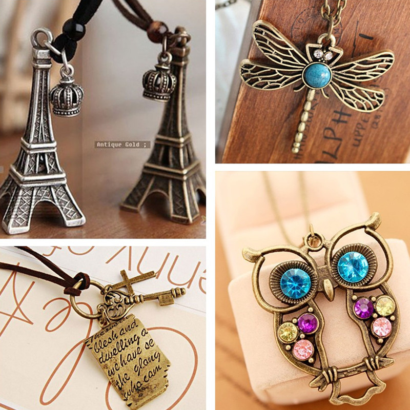 Vintage Necklaces Women Cross Key Love Letters Owl Pendant Necklace Antique Collares Fashion Jewelry Bijoux One Direction
