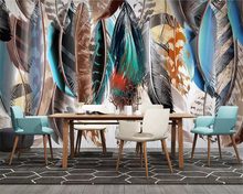 beibehang Custom wall papers home decor classic fashion color feather art retro American TV background papel de parede wallpaper