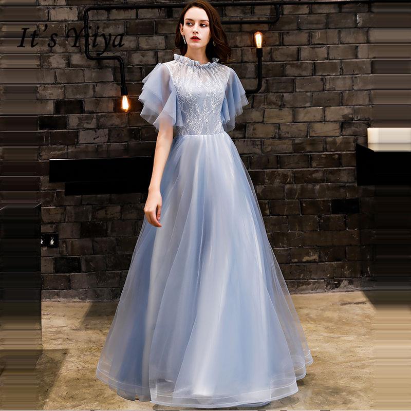 It's YiiYa   Evening     Dress   2018 Pleat O-neck Ruffles Sleeve Backless A-line Floor-length Dinner Gowns LX1307 robe de soiree