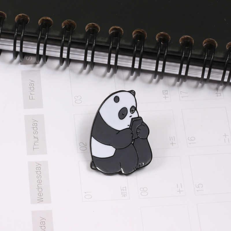 Hewan Lucu Pin Enamel Bros untuk Wanita Kerah Pin Es Beruang Panda Grizzly Pisang Roti Melon Pear Kartun Logam Lencana perhiasan