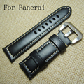 22MM 24MM 26MM Italian Black Calfskin Genuie Leather Watch Strap,  Retro Leather Wacthband For PAM With logo
