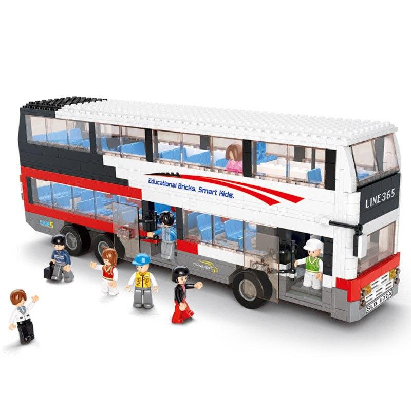 Sluban 741pcs 더블 데커 스쿨 버스 빌딩 블록 도시 차량 모델 벽돌 장난감 어린이 선물 세트-에서블록부터 완구 & 취미 의  그룹 1
