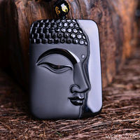 free shipping 100% Natural obsidian hand carved buddha lucky pendant Free necklace