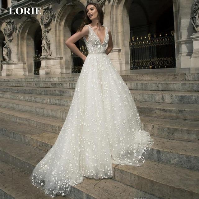 LORIE 2019 Unique Wedding Dress A Line Star Applique Crystals Dresses V Neck Full Sequins Elegant Sleeveless vestidos de noiva