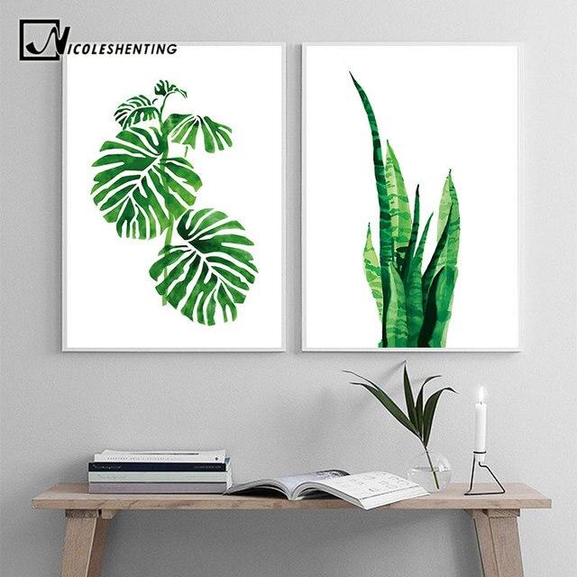 Acuarela plantas tropicales hojas pared arte lienzo carteles e ...