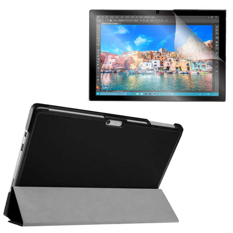 1x Clear Screen Protector , Ultra Magnetic Luxury Folio Stand Leather Case Smart Cover For Microsoft Surface Pro 4 Pro4 1724 1x clear screen protector ultra magnetic luxury folio stand leather case smart cover for microsoft surface pro 4 pro4 1724