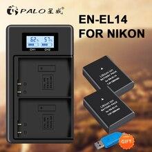 1200mAh 2x EN-EL14A EN-EL14 ENEL14 Battery+LCD USB Dual Charger for Nikon D3100 D3200 D3300 D3400 D3500 D5600 D5100 D5200 P7000