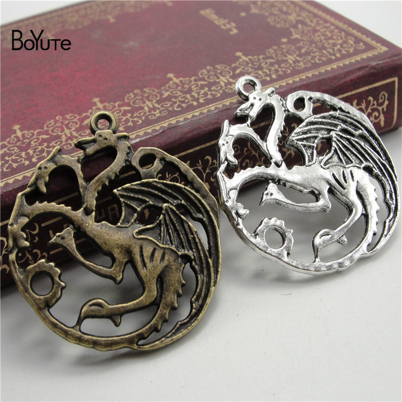 30 Pieces/lot Bright Boyute 32*35mm Antique Bronze Silver Plated Three Heads Dinosaur Pendant Diy Metal Alloy Jewelry Accessories To Have A Long Historical Standing
