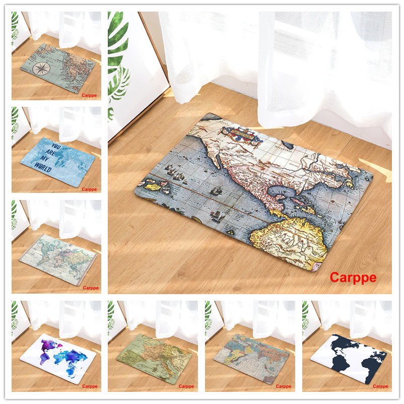 2017New Welcome Floor Mats Map Printed Bathroom Kitchen Carpet House Doormats for Living ...