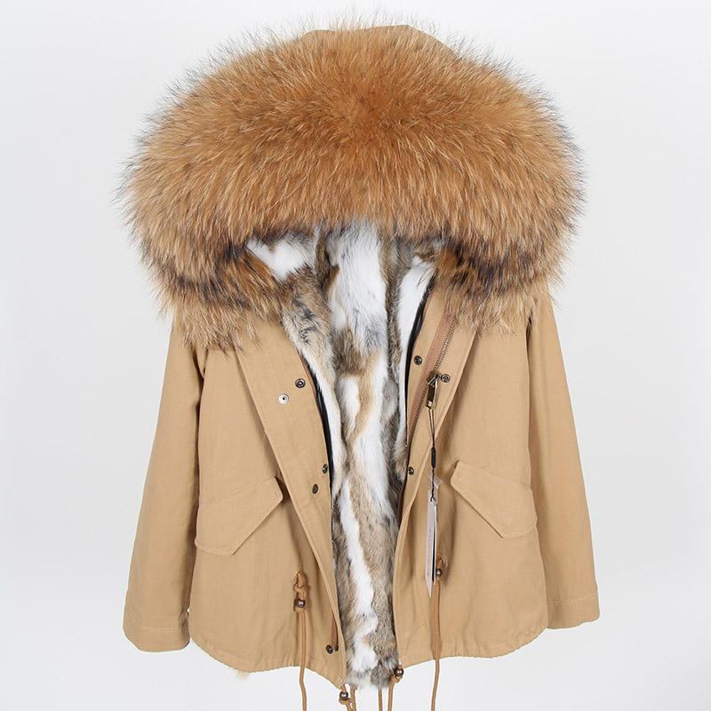 Maomaokong Rabbit Fur Parkas Winter Jacket Women Parka Real Fur Coat