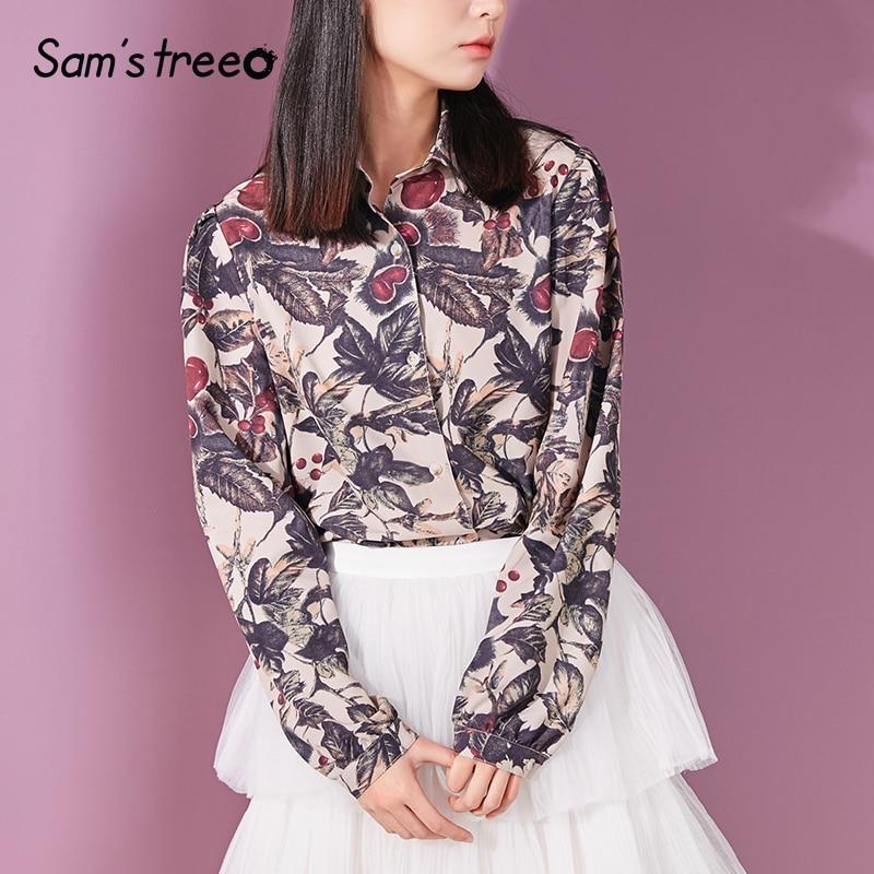 Collar Women Female Ladies Multi Turn Tops Sleeve Floral down Blouses Long Harajuku Summer Vintage Shirt Printed Samstree OCqwSS