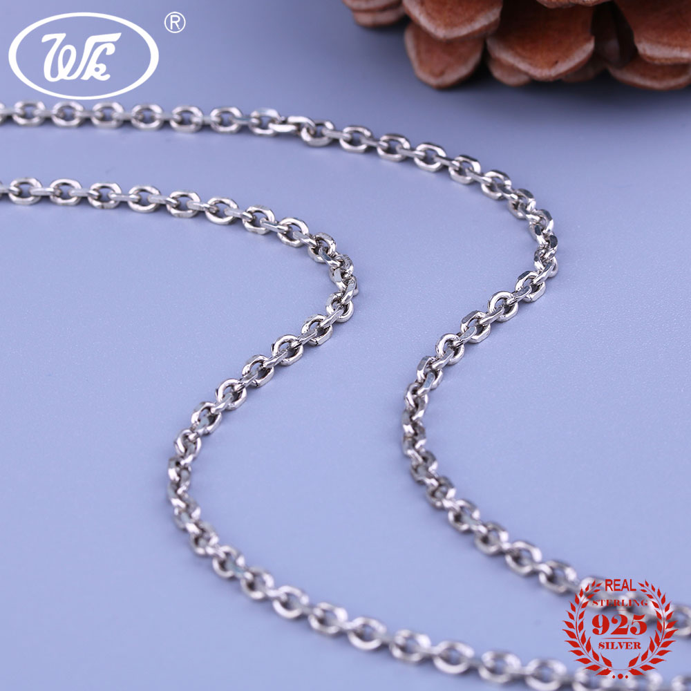 WK Retro 925 Thai Silver 3MM Thick Link Chain Necklace 18 Inch 45 CM Gothic Punk Vintage Silver 925 Chains Jewelry 8.1g W4 NA045 3mm thick weave rope chain cross link silver necklace sterling 925 silver jewelry