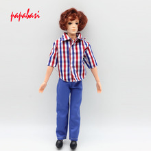 1 PC Doll s Clothes Suit Casual Wear Plaid Jacket Pants Outfits For Ken Barbe Dolls