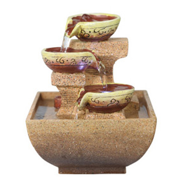 Resin decorative indoor desktop figurines fengshui water fountain humidification artificial stones craft