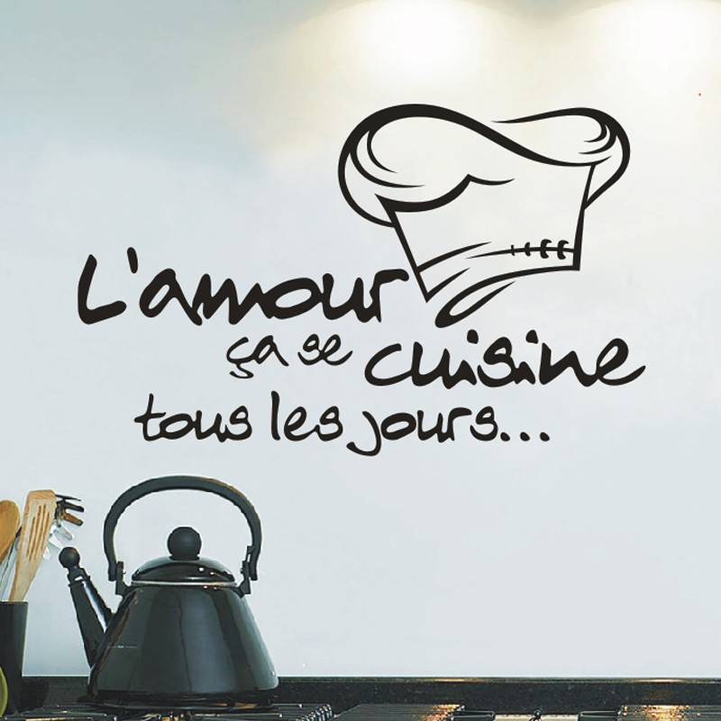 cuisine stickers french wall stickers home decor wall decals for kitchen home decoration decal. Black Bedroom Furniture Sets. Home Design Ideas