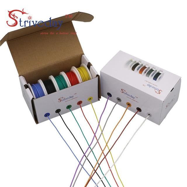 50 m/box 164ft gancho acima encalhado fio de cabo de fio 30awg flexível silicone fios elétricos 300 v 5 cor mix estanhado cobre diy