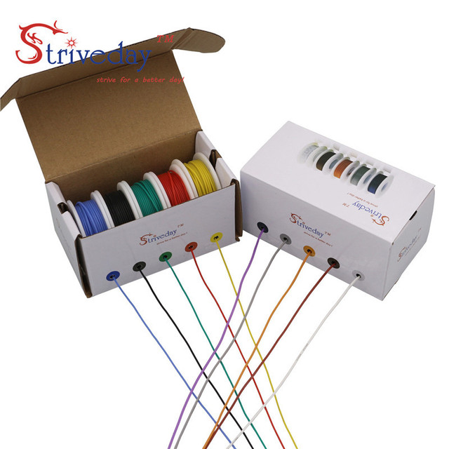 50m/box 164ft Hook up stranded wire Cable Wire 30AWG Flexible Silicone Electrical Wires 300V 5 color Mix Tinned Copper DIY