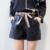 Nuevas Mujeres de Cintura Elástica Arco de Cuero de LA PU Negro Shorts Mujer Loose Mujeres de La Manera Ocasionales Adelgazan Cortocircuitos de Las Mujeres del Tamaño S-XL