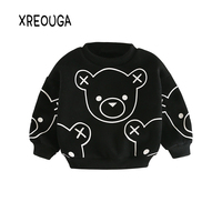 2017 New Arrival Cartoon Bear Baby Boys T Shirt Thickening Kids Girls Long Sleeve Cotton Sweatshirts