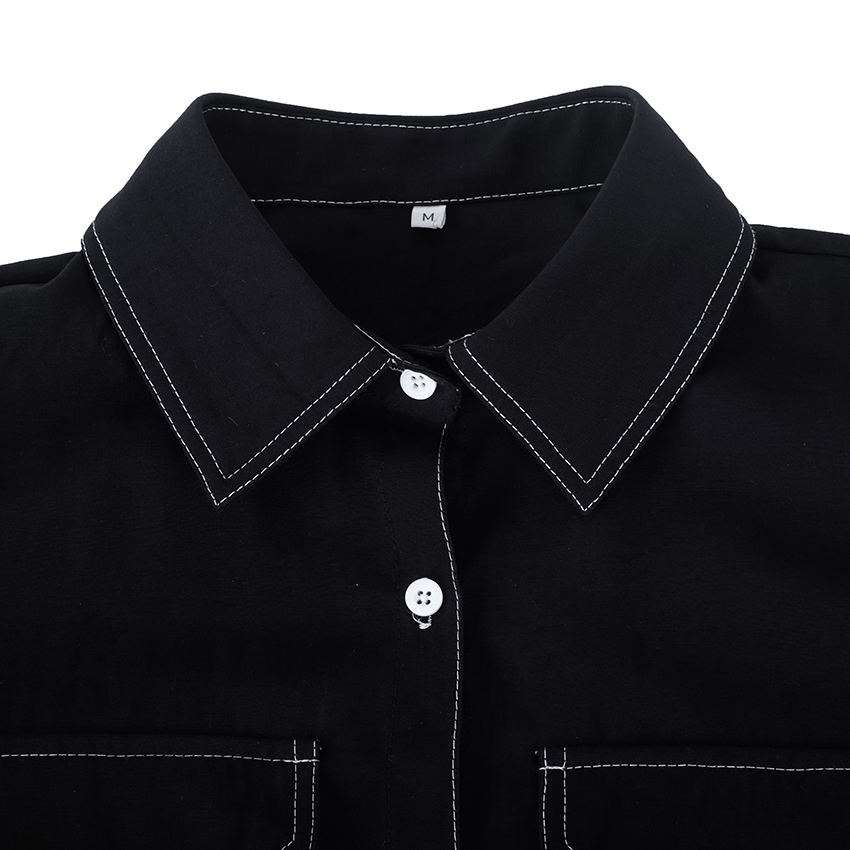 OOTN Office Lady Black Shirts Tunic Loose Turn Down Collar Pockets Female Casual 2019 New Womens Tops And Blouses Long Sleeve (12)