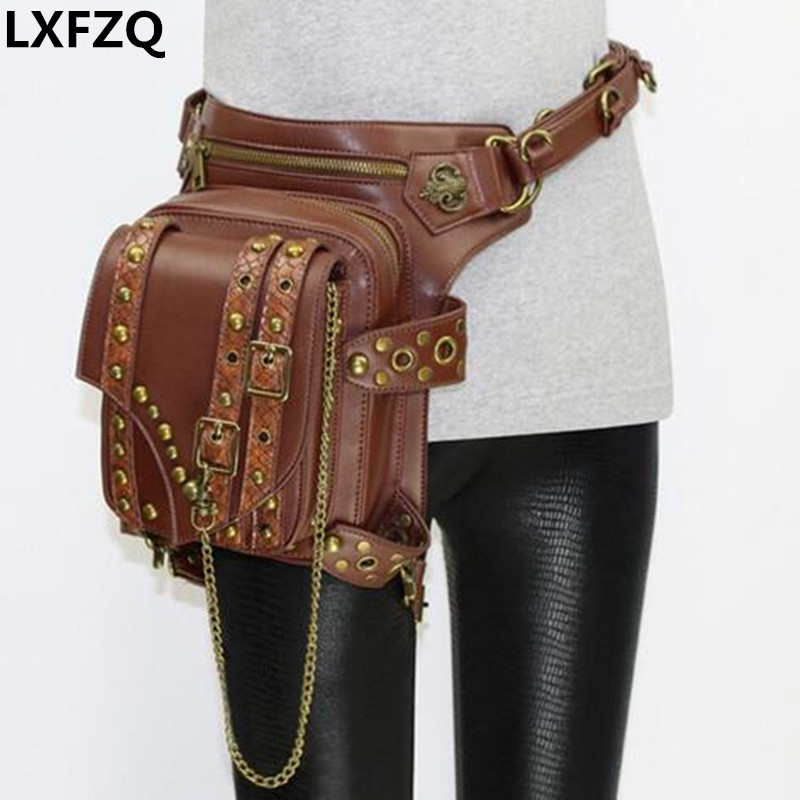 NEW Multi-purpose Protected Purse Shoulder carteras mujer Motor leg bag belt waist bag women Steam punk men package Outlaw Pack цена 2017