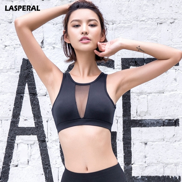 963c3df73d LASPERAL Women Sports Bra 2017 Hot Mesh Fitness Shockproof Padded Yoga Bra  Gym Workout Fitness Bra Crop Top Push Up Running Top