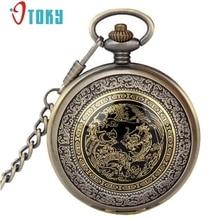 aa8f0bfdc60 Chegam novas Vintage Bronze Phoenix Dragão Quartzo Relógio de Bolso Cadeia  Pingente de Colar Para As Mulheres  20 Presente 1 pcs