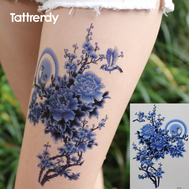 Frauen Temporäre Tattoo Aufkleber Arm Schulter Blau Pfingstrose