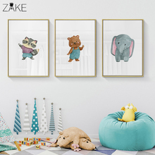 Watercolor Raccoon Elephant Bear Animal Posters Canvas Art Painting Wall Art Nursery Decorative Picture Nordic Style Kids Decor modern style scenery posters canvas art painting wall art nursery decorative picture nordic style kids deco