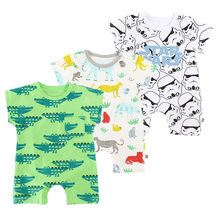 Baby Boy Rompers Summer 2018 Cartoon Animal Newborn Girl Jumpauit For Baby Clothes Fashion Cute Triangle Infant Romper Costumes(China)