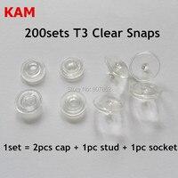 200 sets Lucido Trasparente Clear T3 dimensioni 16 Kam Snaps Bottoni In Resina Plastica formato della protezione 10.7mm diametro