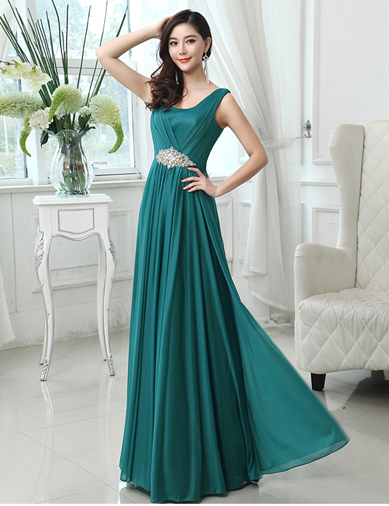 U-Neck Crystal Long Wedding Party Gown Chiffon A-Line Long Mint Green Bridesmaids Dress Blue Red Turquoise Mint Colors Stocked