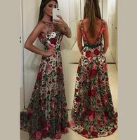 vestido de festa longo New Women Brand Luxury Embroidery Runway Dress 2017 Summer Mesh Slim Long Maxi Dresses Tunique Femme