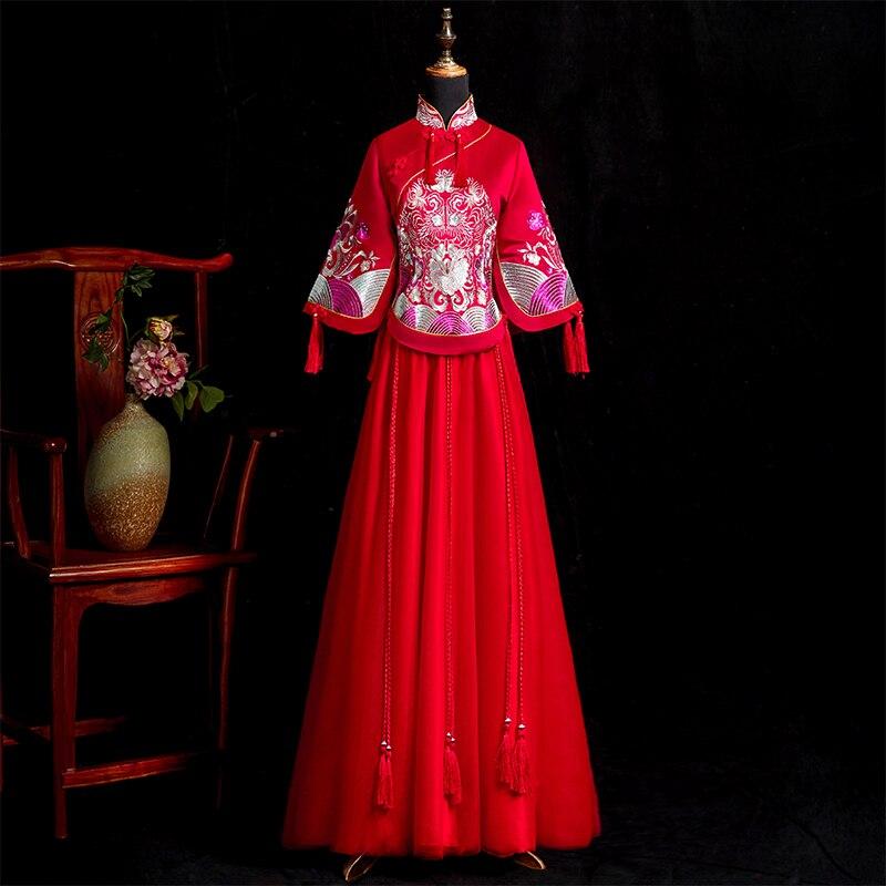 Вышивка Сучжоу за рубежом китайская невеста свадебное платье Ципао воротник стойка праздничный костюм классический Восточный вечер плать