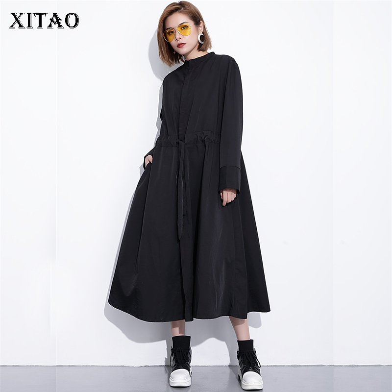 [XITAO] 2018 Europe New Autumn Casual Women Stand Collar Solid Color Long Coat Female Full Sleeve Loose Bandage   Trench   GWY2937