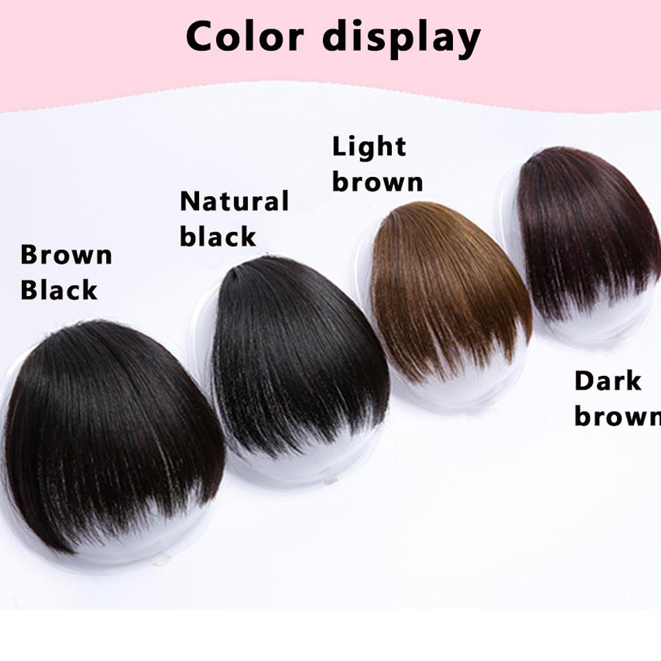 DIFEI Female Micro Straight High Temperature Synthetic Bangs Extension Bangs Natural Seamless Bangs
