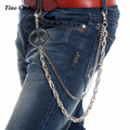 "27""-Men 2 Strands Silver Metal Rope and Box Wallet Chain Key Chain Trucker Fashion Hip Hop Biker Peace Sign Jeans Chain KB66"