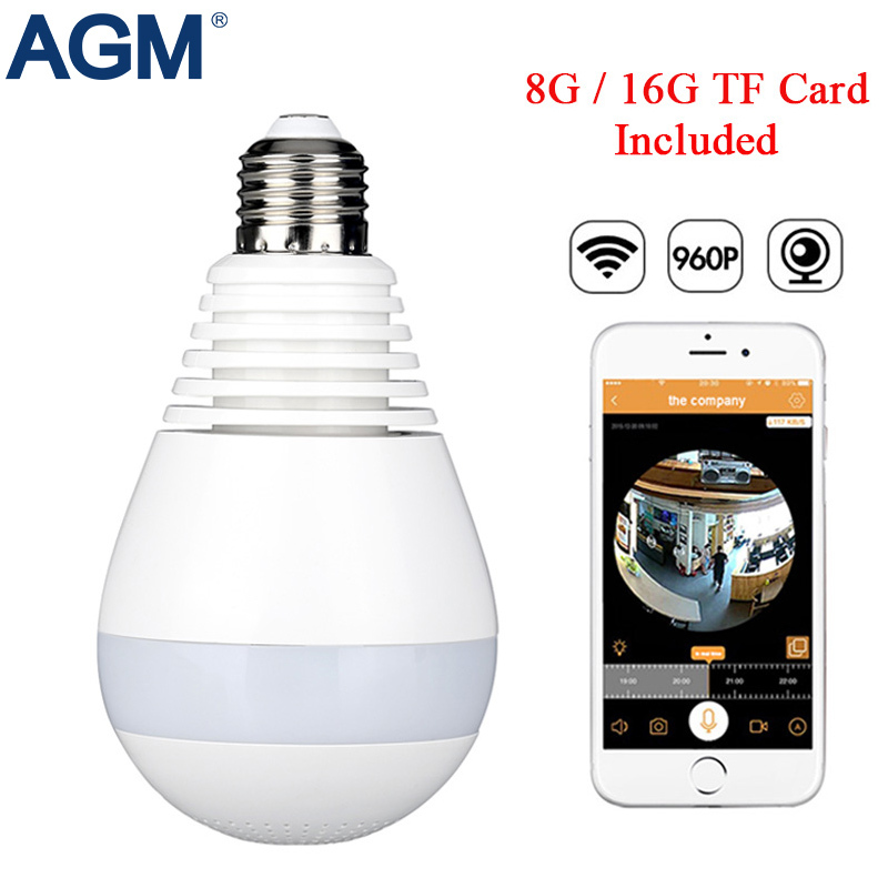 Led-lampe Licht 360 Grad 960 P WiFi Panorama Kamera Smart Home LED Lampe Drahtlose Ip-kamera 3D VR Fisheye Kamera Haus Sicherheit