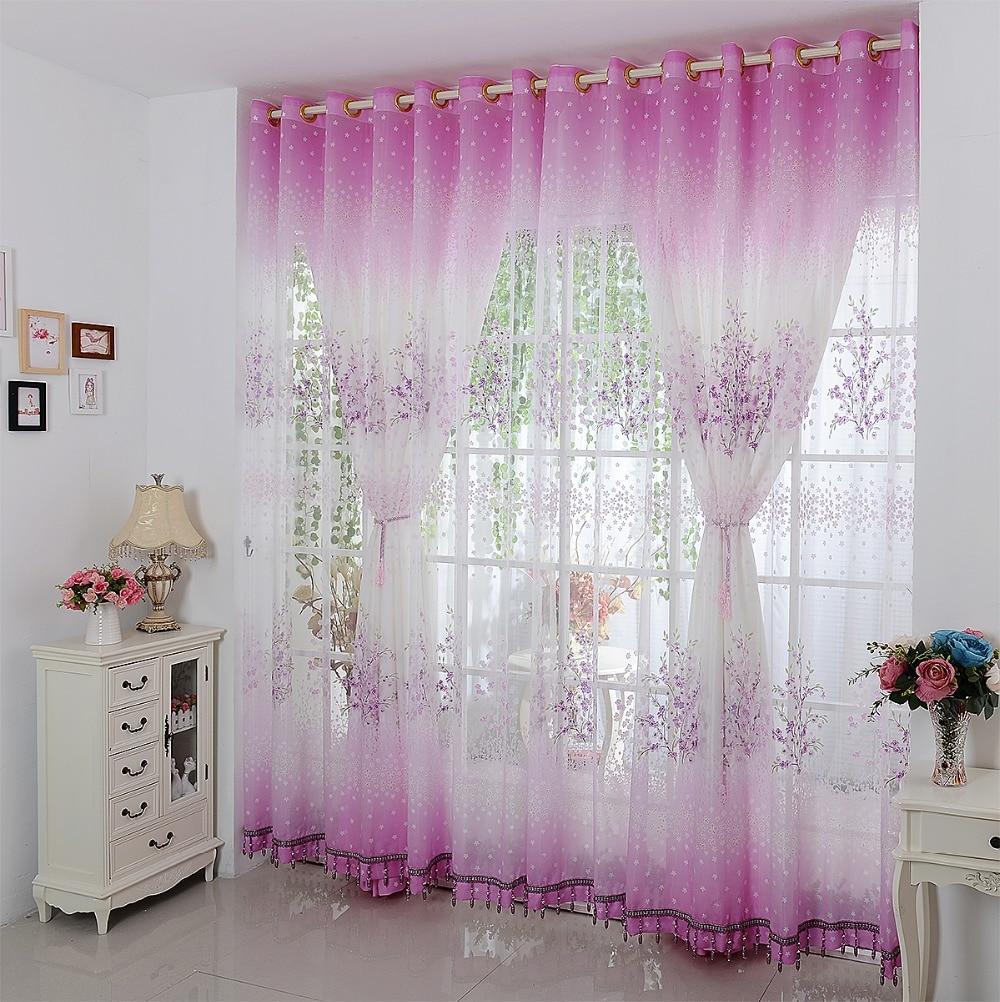comprar idlica pequea fresca floral cortinas de color rosa dormitorio sala de estar balcn pantallas cortina perforada ventanas y acabados