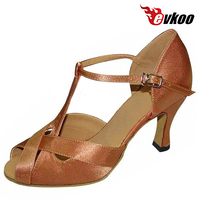 Evkoodance Satin Or Pu Shiny Material Dancing Shoes For Women 7cm Heel Latin Tan Sliver Color Shoes For Your Choose Evkoo 079