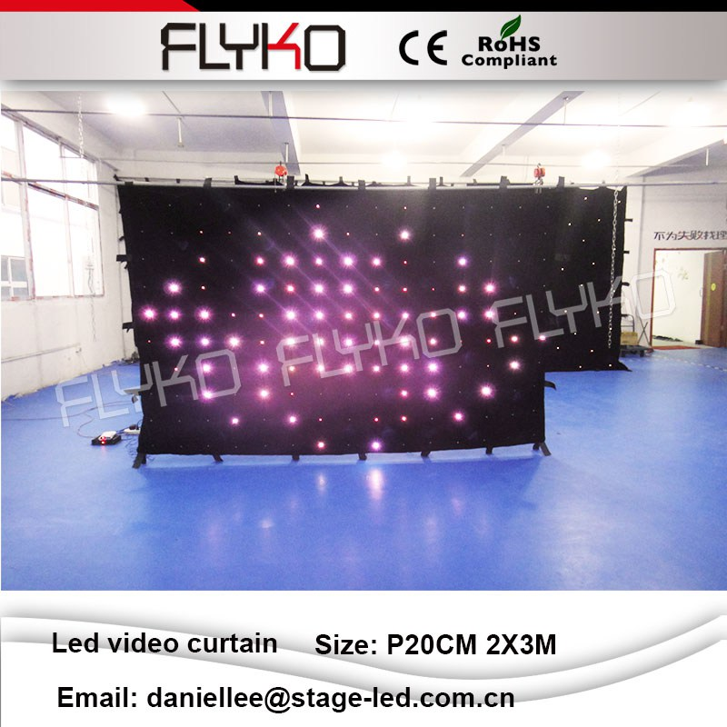 Fantasy aesthetic SD controller with remote control size can be customized Led video curtain p20 2X3m